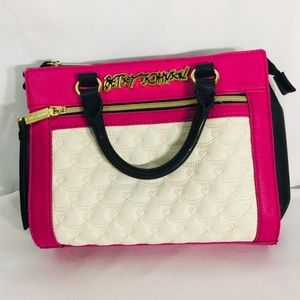 Betsey Johnson Small satchel pink cream black